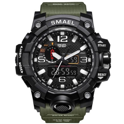 Ceas Shock resist Smael 1545 Verde, Dual time, Water resist