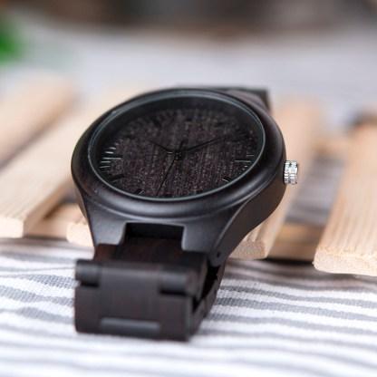 Ceas din abanos Bobo Bird cu curea din lemn abanos