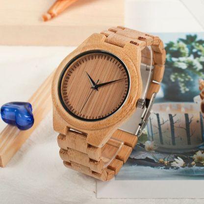 Ceas din lemn Bobo Bird cu curea din lemn, d