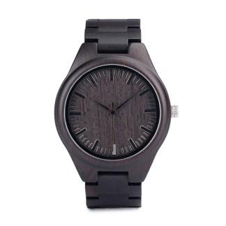 Ceas din lemn Bobo Bird negru cu curea din lemn
