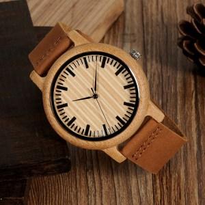 Ceas din lemn Bobo Bird cu curea din piele, A20