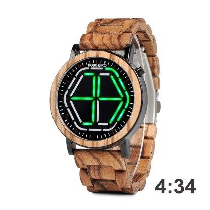 Ceas din lemn Bobo Bird led P13 verde