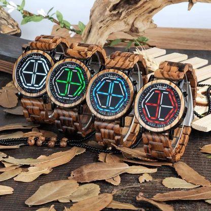 Ceas din lemn Bobo Bird led P13