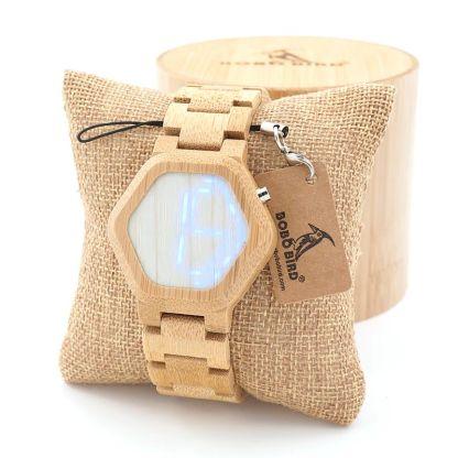 Ceas din bambus Bobo Bird led, E03