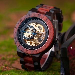Ceas din lemn Bobo Bird mecanic R05 rosu