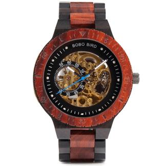 Ceas din lemn Bobo Bird mecanic, curea din lemn, R05 rosu