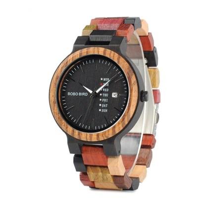 Ceas din lemn Bobo Bird multicolor cu curea din lemn, P14-1