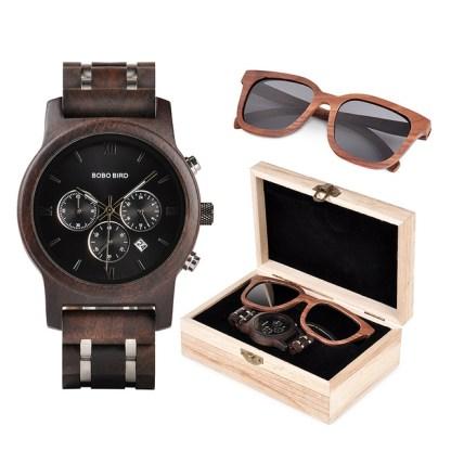 Set ceas din lemn Bobo Bird P19 si ochelari de soare din lemn