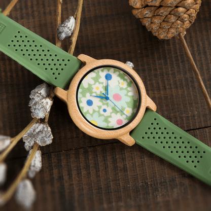 Ceas de mana din lemn de bambusBobo Bird cu flori
