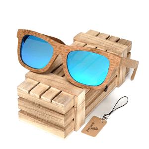 Ochelari de soare din lemn Bobo Bird BG003, lentila albastra