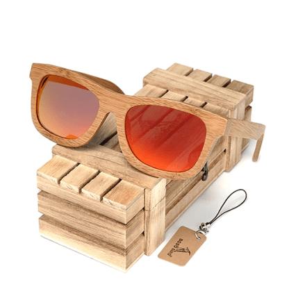 Ochelari de soare din lemn Bobo Bird BG003, lentila portocaliu