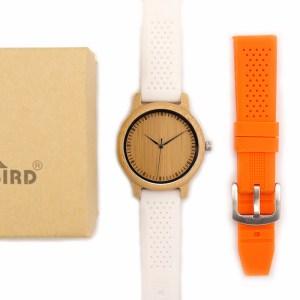 Ceas din bambus Bobo Bird cu curea din silicon alb, B07 + portocaliu