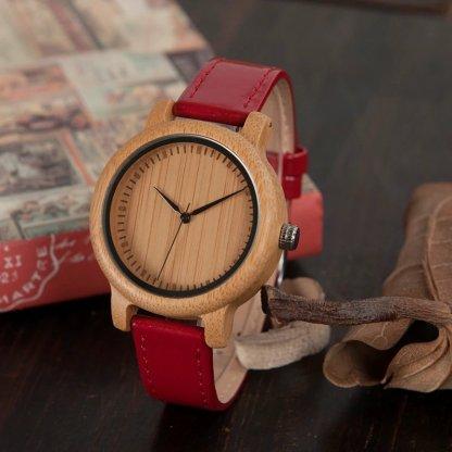 Ceas din bambus Bobo Bird cu curea din piele J09