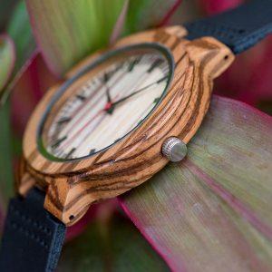 Ceas din lemn Bobo Bird zebra cu curea din piele C21