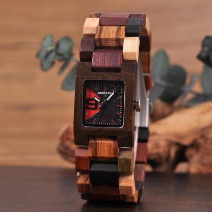 Ceas din lemn Bobo Bird cu curea din lemn S02-2