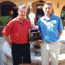 2015 PCMGA Club Champion Bill Volm (left) with trophy presented by Jason Whitehill