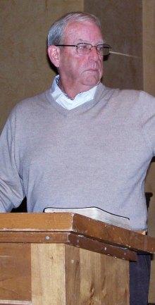 Don Callaghan speaking to the Men's Christian Fellowship