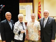 The PAC Backstage Expansion team introduces the Build the Backstage thermometer to chart the heat generating the fundraising goal of $100,000. Left to right: Jeff Buda, Carolyn Weese, Bill Palmer and Ray Hadden