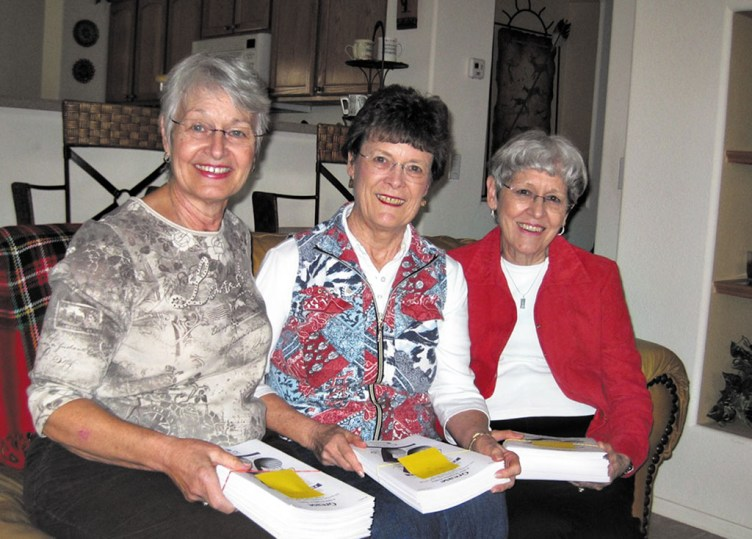 Section Leaders Beverly Griggs, Nancy Gustafson and Norleen Shelton meet with Choral Director Gail Kennedy to go over the musical selections she has chosen for the PC Singers' Spring Concert.