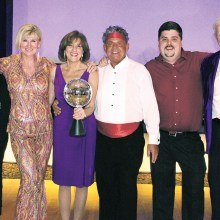 The 2016 Dancing with the PebbleCreek Stars competitors, from left: Ane Aune, Julie Walmsley, Champion Donna Gray, Rich Elliott, Brian Cate and Chuck Freeman.