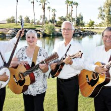 The Desert Rovers, left to right: Dave Silverstein, Holly Carrier, Mike Caswell and Carl Halladay will present a program of folk music on November 13. Joining them will be Jeff Harrison, Joe Armbruster, John Flynn and Bob Hover (not pictured).