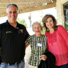 Left to right: Goodyear Chief of Police Jerry Geier, Hostesses Loretta Fuss and Shari Geier at the 20th annual PebbleCreek Home and Garden Tour