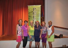 Some of Flight 2, First Place winners: Nancy Kyle, Vera Ilsley, Joanne Pollock, Pam Volm, Carol Langhardt, Jenna Ridgeway