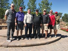First Place and Closest to Pin Winners – PCM9GA Member Guest Tournament, left to right: Mike Perkins, Mike Nadon, Don Shaver, Ray Clements, Steve Shaver, Grant McNeil, Bob Schrader