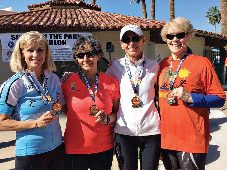 Litchfield Sprint in the Park Triathlon - April 2017, left to right: Susanne Vander Heyden, Gilda Poitras, Cheryl Brodbeck, Mary Simmons