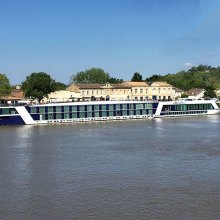 Our ship, the Ama Dolce, on the Dordogne River in the Bordeaux region of France, May 2017.