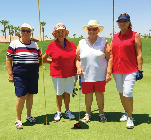 Left to right: Suzan Simons, Pat DeMatties, Ruth Vohs (tied for low net, flight 3), Susan Harris