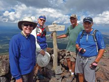 Left to right: Dana Thomas, Lynn Warren, Clare Bangs and Ed Bobigian catch their breath on the 12,633 foot summit of Humphrey's Peak.