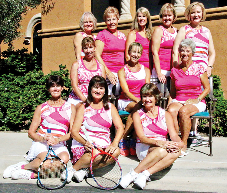 PebbleCreek Passion team members Front row (from left): Lynne Carlyle, Pat Ingalls (captain), Diane Bostock; Middle row: Joan Patchin, Debbie Welsh, Pat Owens; Top row: Sara Foster, Jill Santy, Vikki Constable, Lorinne Banister, Pam DeRouin; Not pictured: Roxie Forrest, Mary Green, Cindy Henry, Wendy Langhals, Marty McAllister and Cooky O'Brien.