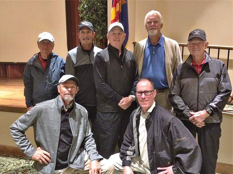 Flight Net Winners (left to right) Back row: Albert Williams, Scot Becraft, Bob Parise (2nd), Doug McFarland and Ray Measles; Front row: Brian Maine and Dave Willison.