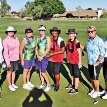 PCLGA players at CAGD Alta Mesa Tournament (left–right): Linda Thompson, Carol Sanders, Peggy Steffan, Cathryn Weaver, Carolyn Sutttles, Jane Hee, Kathy Hubert-Wyss and Barbara Patrow.