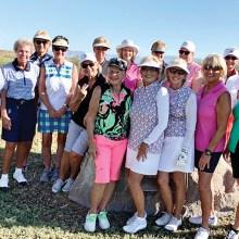 Front row standing (left to right): Cheryl LaMotta, Donna Havener, Kathi Curtis, Tess Braden, Jean Ostroga; Back row: Sharon Dawe, Carol Langhardt, Nancy Hernandez, Karen Myers, Chanca Morrell (sitting), Sally Babbitt, Carol Taylor, Vicki McLaughlin, Geanie Aldridge, and Judi Floyd.
