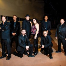 Rhythm Edition variety dance and show band. Top (left to right): Mark Smith, Duane McClendon, Dennis Fike, Gloria Roblez, Charles Newton, and Ray Delgadillo. Bottom: Ruzo Vallalba and Mike Dominguez.