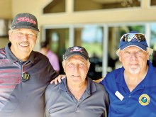 Sept. 19 Cha-Cha-Cha tournament's first place team: Bill Wagner, Jr., René Lefebvre, and Ray Clements.