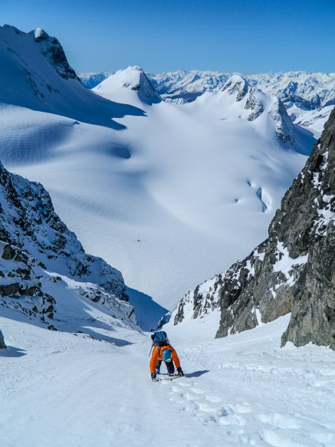 Nearing the top of the couloir
