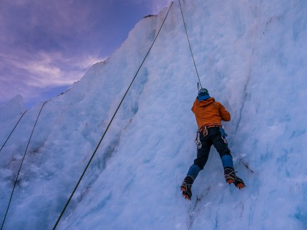Top Roping an overhanging wall of ice
