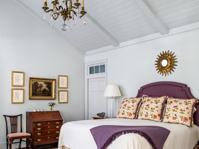Beretania Circle Residence 2 Master Bedroom vaulted ceiling grey purple orange floral print bed Pebbles Nix Interiors