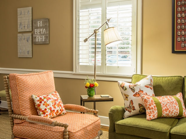 Pi Beta Phi Sorority House 9 family room olive orange throw pillows Pebbles Nix Interiors