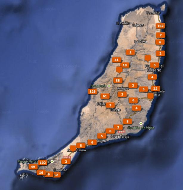 Karte mit Fotos auf Fuerteventura