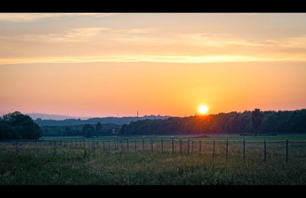 Fliegen im Sonnenuntergang