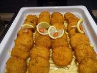 fish and peruvian potato cakes with yellow chili