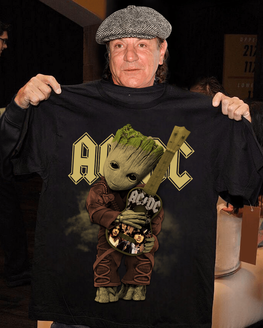 AC DC And The Baby Groot Shirt