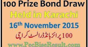 Karachi 100 Prize Bond Draw List 16 November 2015