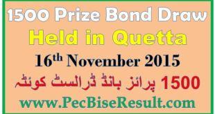 Quetta 1500 Prize Bond Draw 2015