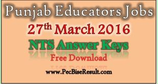 Punjab Educators Jobs 2016 Answer Keys