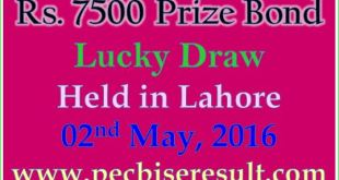 Lahore Draw List 7500 Prize Bond 02/05/2016